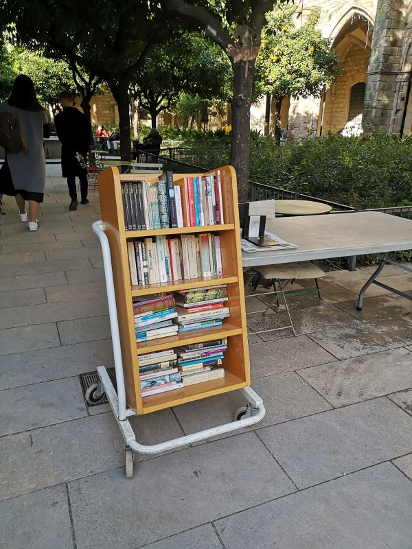 Полки с книгами во дворике госпиталя