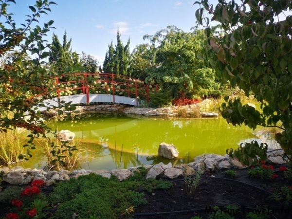 Пруд с мостиком в парке фото