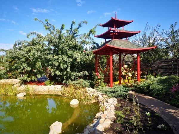 Китайский домик около пруда, фото