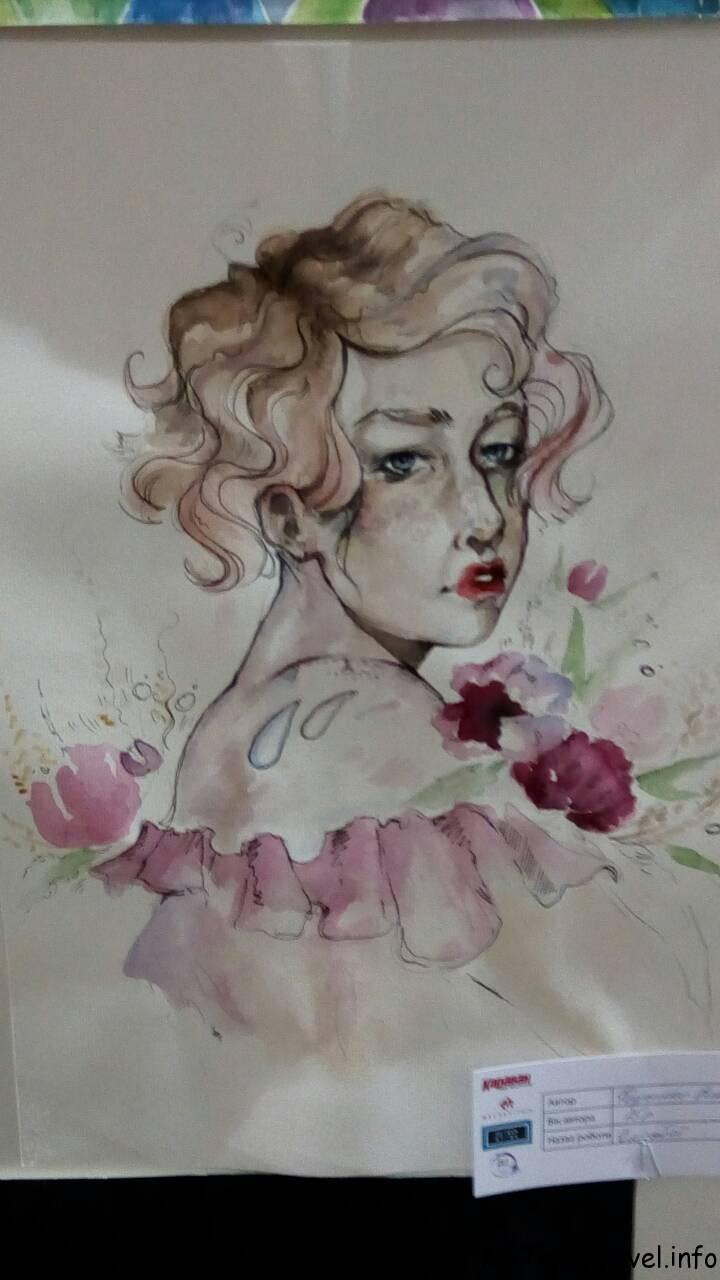Портрет акварель и ручка