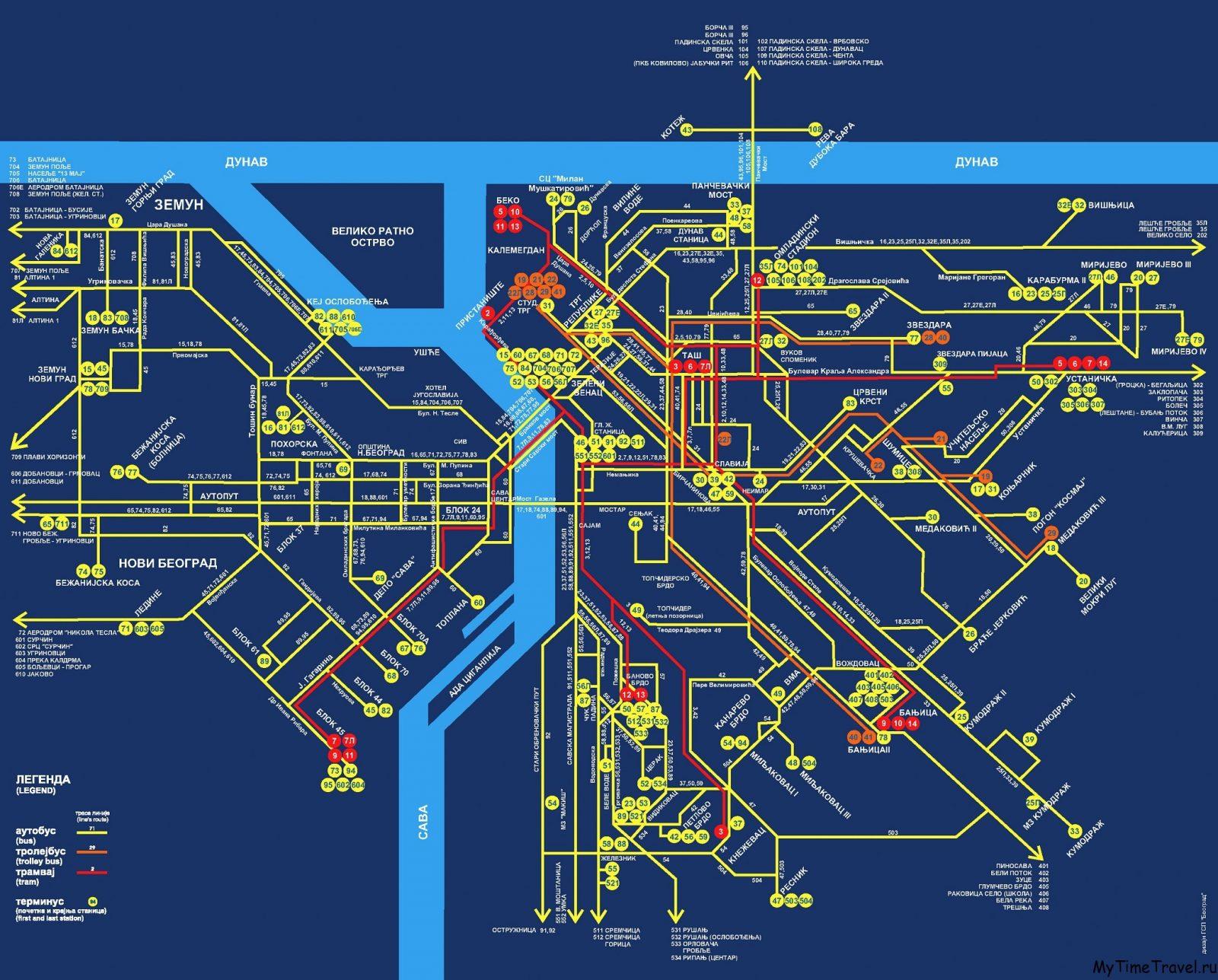 Схема маршрутов городского транспорта Белграда